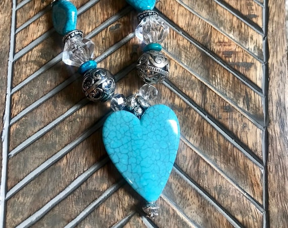 Large Blue Heart, Turquoise Beads, Crystal Bead Necklace