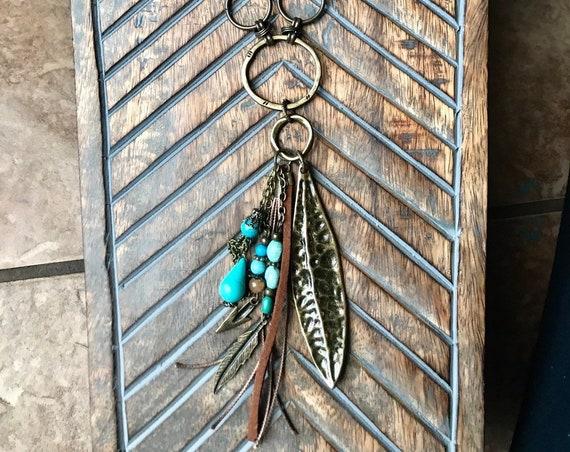 Long Antique Bronze, Pewter, Large Pewter Leaf, Boho Tassel Necklace