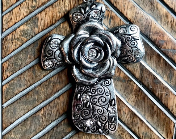 Very Large Silver Cross with Large Silver Rose