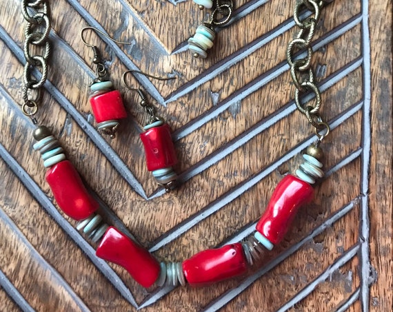 Antique Bronze, Red Coral, Turquoise Bead, Necklace, Bracelet, Earring Gift Set