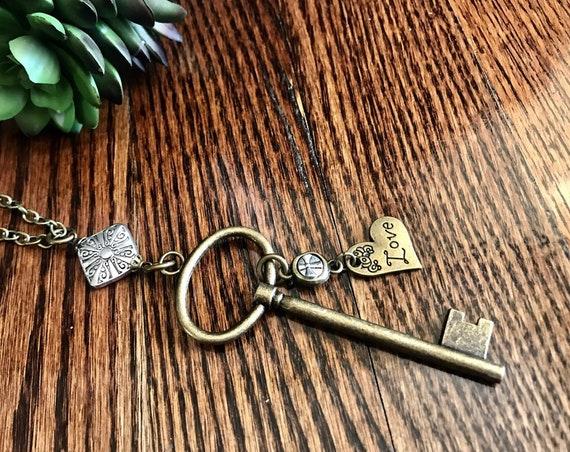 Pewter, Antique Bronze, Large Key, Love Necklace