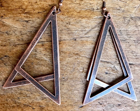 Copper Triangle Earrings.