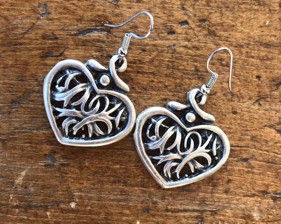 Hand Stamped Silver, Heart Earrings