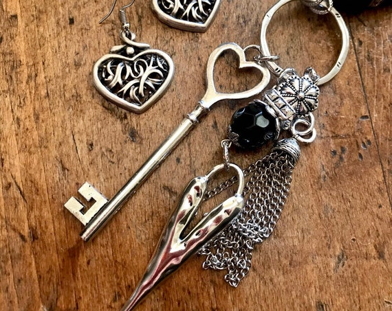 Long Black Bead, Silver Necklace with Heart and Key Tassel