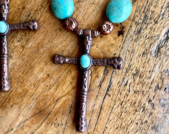 Copper, Turquoise, amd Copper Cross Necklace
