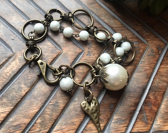 Large Pewter and Antique Bronze Chain, Pearl Strand, Heart Bracelet