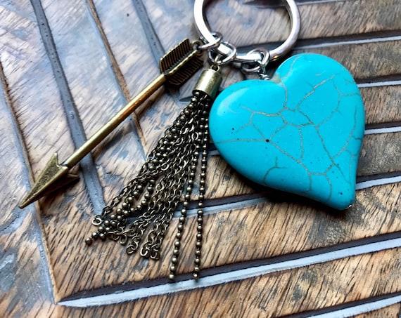 Large Turquoise Heart Keychain