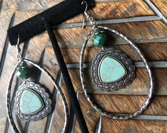 Large Silver Hoops, Light Turquoise, smoky teal bead, Cowgirl Bling, Gypsy Bling Earrings