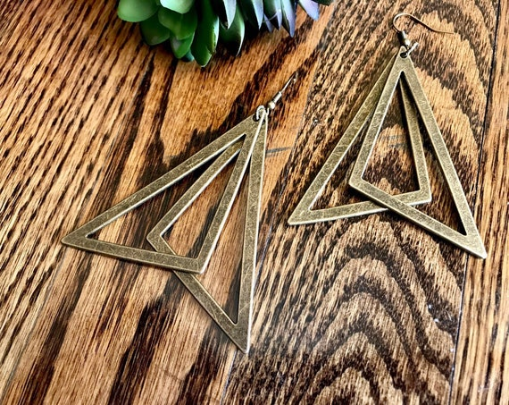 Pewter, Bronze, Triangle Earrings.