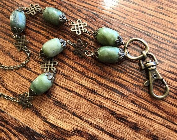 Large Green Bead & Bronze Badge Holder / Lanyard