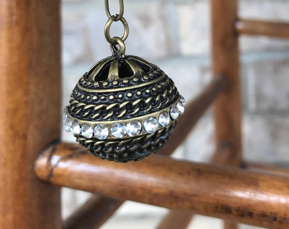 Long Chain Necklace, Bronze Insustrial Locket with crystal detail. Possible Essential oil Diffuser
