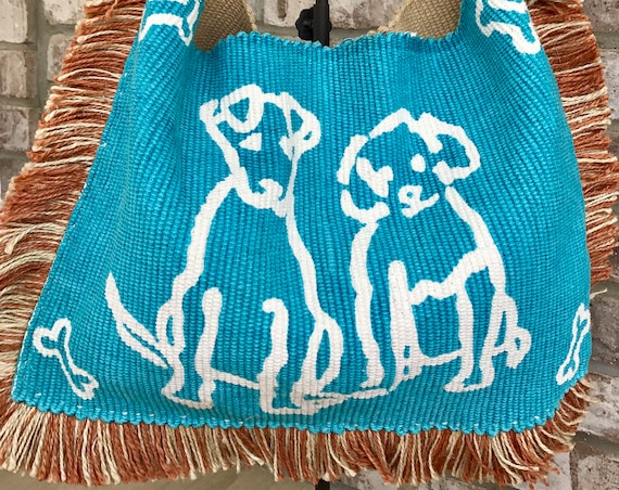 Dog Tote/ Dog Fringe Tote/Dog Bone Purse/ Dog Lovers Bag. Fido Totes His Oats