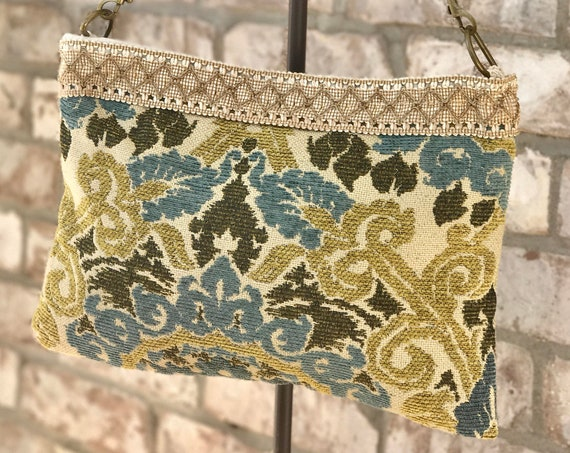 Turquoise and Gold Carpet Bag