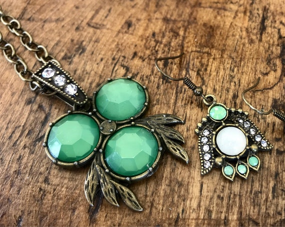 Antique Bronze, Vintage Green, Necklace and Earring Set