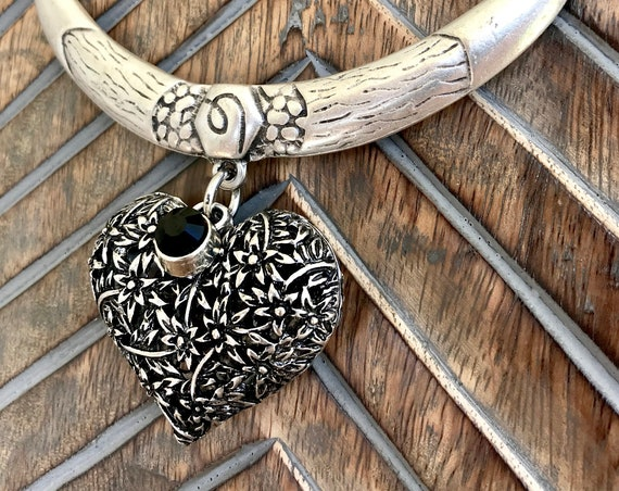 Turkish Silver Bib, Large Chunky Silver Heart Necklace
