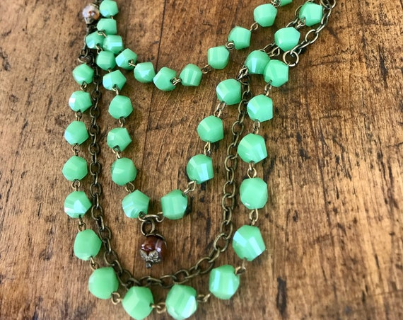 Vintage Light Green, Antique Bronze, Bib Necklace