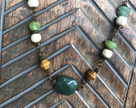 Bronze, Green, Wood necklace
