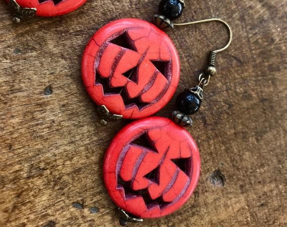 Halloween, Jack o lantern earrings