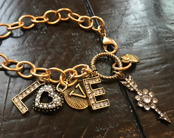 Antique Gold LOVE charm, chain and link bracelet