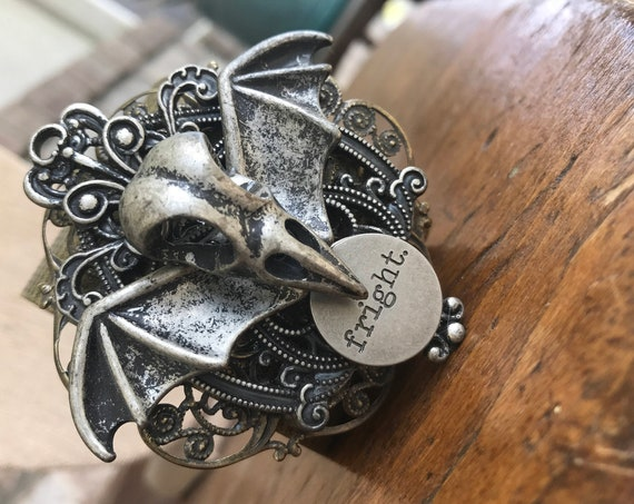 Gothic Steam punk renaissance bird skull frightful cuff