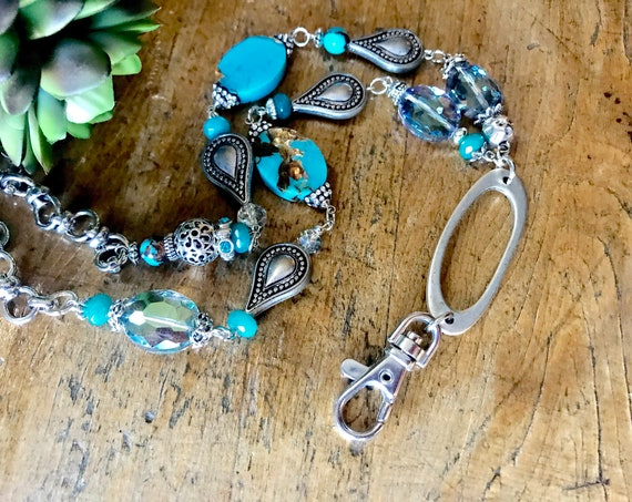 Silver, Turquoise, Crystal Lanyard and Badge Holder