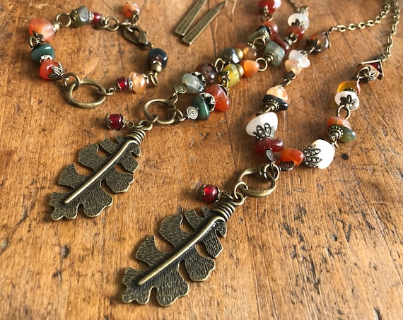 Industrial Vintage, Fall Colored Stones, Antique Bronze Leaf, Long Necklace