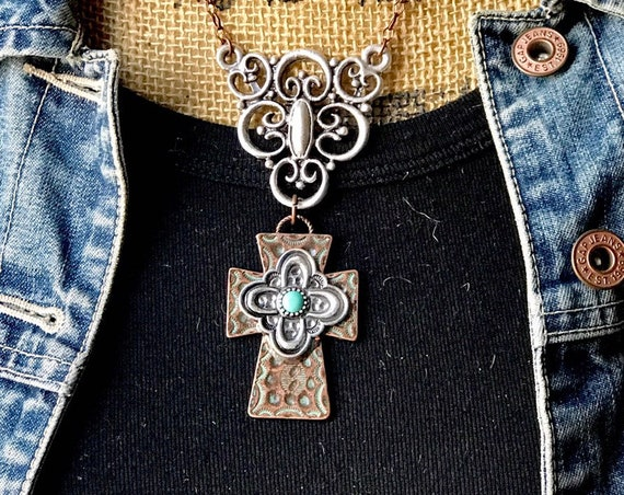 Silver Filigree, Bronze Cross, Turquoise detailed Necklace
