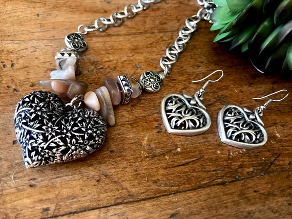On reserve for Debbie   Silver, Blush Stone, Silver Heart Necklace