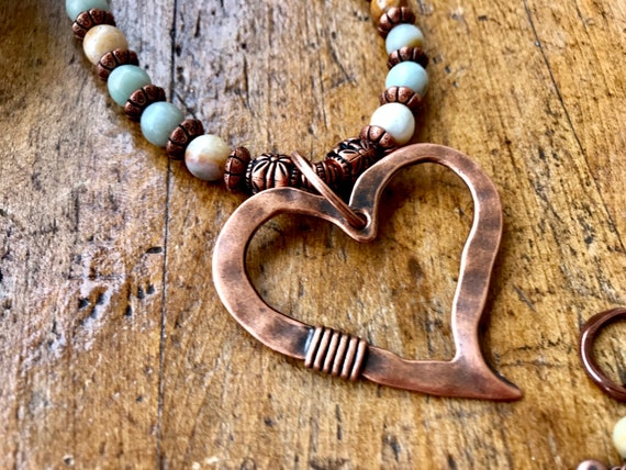 Large Copper Heart, Blush and smoky bead, Necklace