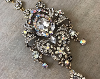 Gold and Crystal, Ornate Fashion Necklace