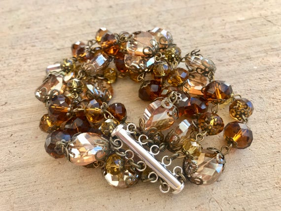 Brown and Amber Bead, Multi-Strand Bracelet