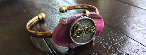 Gold & Purple Stone, Love bracelet