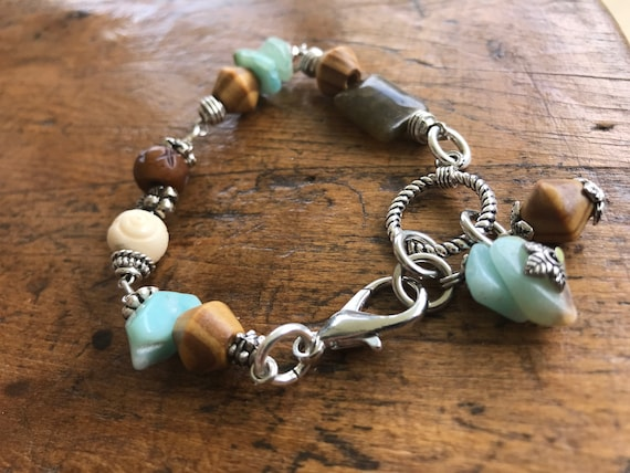 Silver, Sea Glass Blue, Wood Bead Bracelet