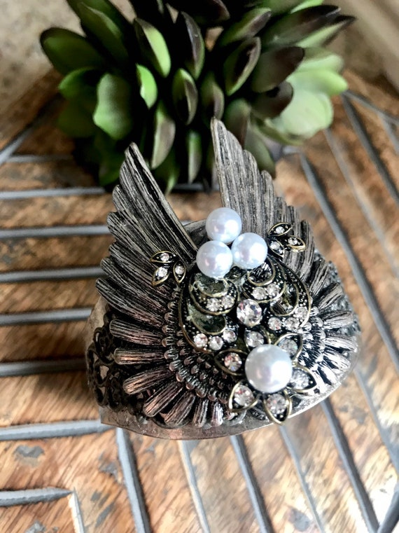 Silver Angel Wings & Pearl Cuff