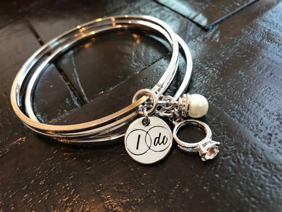Silver, I Do, Engagement, Just Married, Bride Gift, Set of Three, Bangles