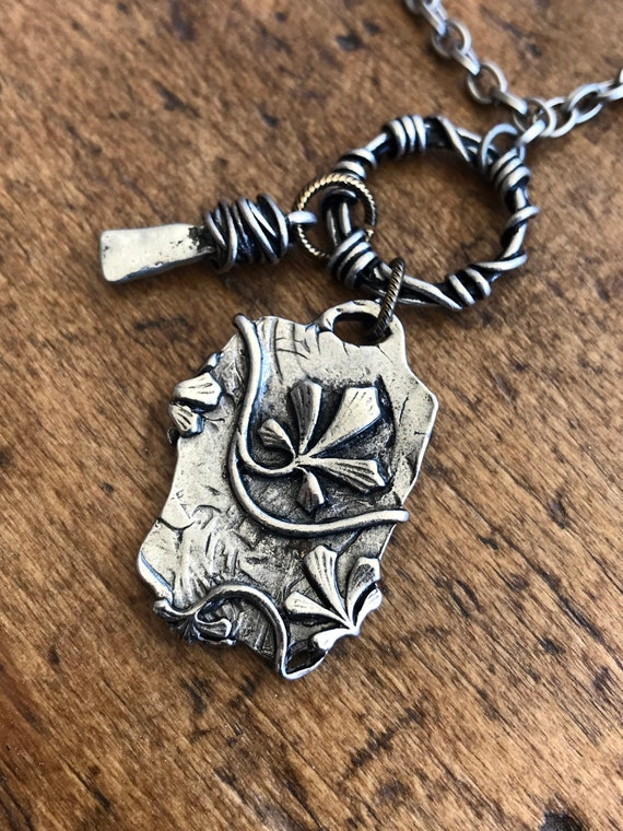 Brushed Silver, Long Necklace, Heavy Stamped Charm