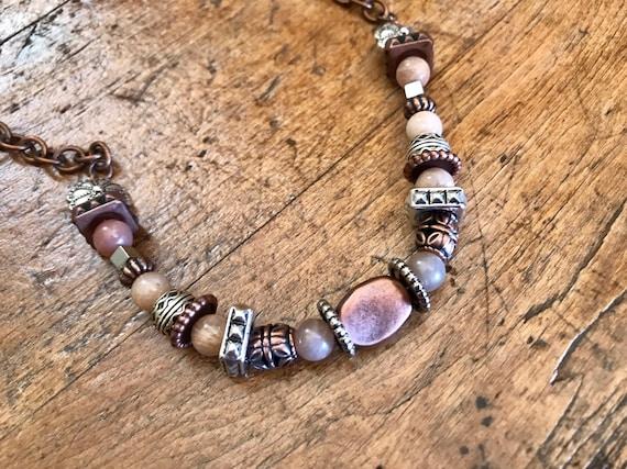 Silver, Copper, Blush Necklace