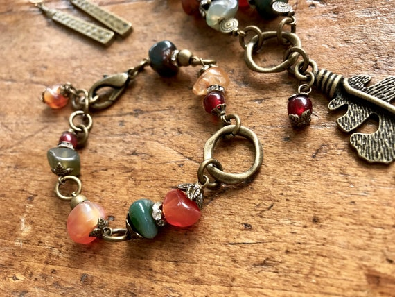 Fall Colored Stones, Antique Bronze Detailed Bracelet