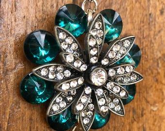 Deep Teal Crystal, Long Silver Tassel Necklace
