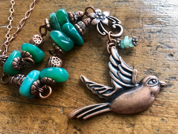 Copper Bird and Jade Bead Necklace