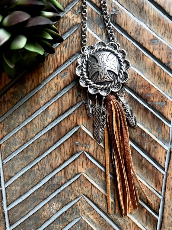 Western Cross, Silver and Leather, Silver Feather Tassel, Long Necklace