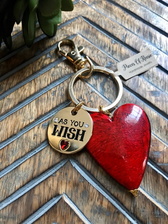 As You Wish, Red Heart, Gold Keychain