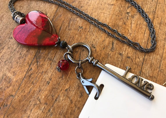 Black Chain, Large Red Heart, Black Love Key ID/ Badgeholder