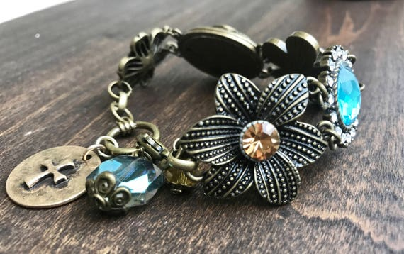 Bronze and Blue toned Ornate Fashion Bracelet