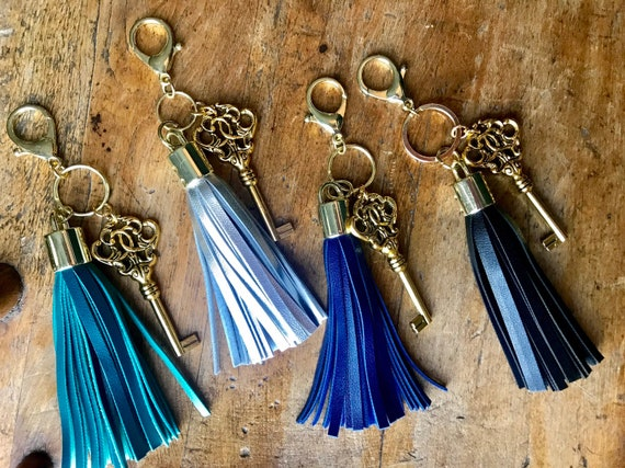 Large Gold Key and Tassel Keychains