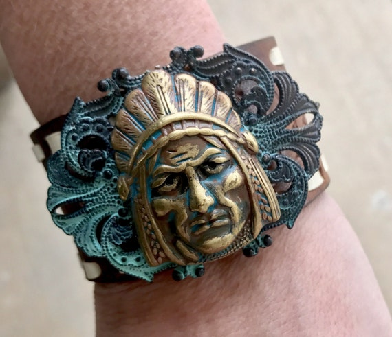 Indian Chief Hand Tooled Leather Cuff
