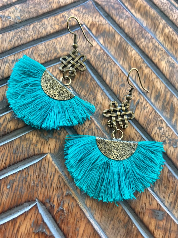 Anitque Bronze With Turquoise/Teal Fan Earrings