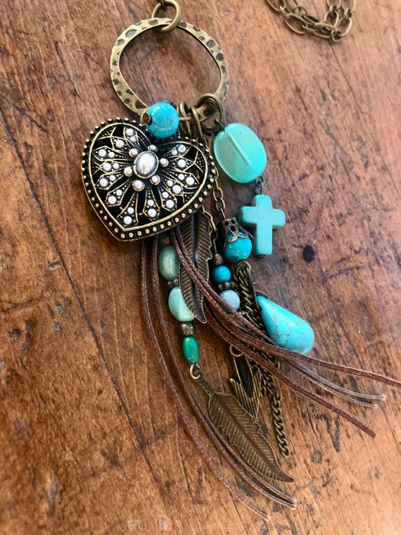 Long Bronze Necklace with Boho Tassel