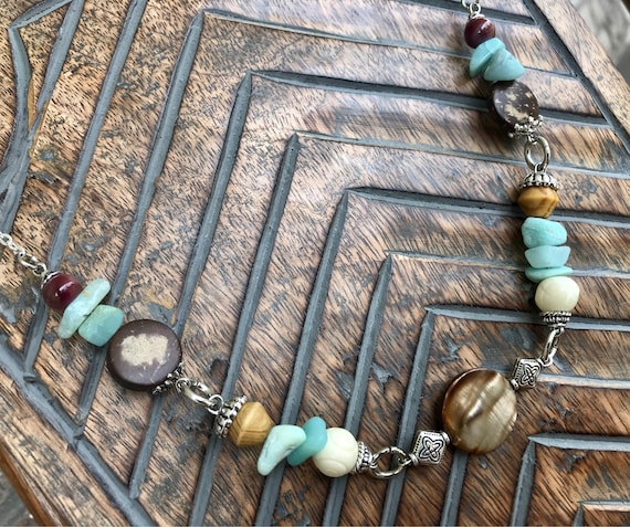 Chocker Length, Silver, Wood, and Blue Necklace