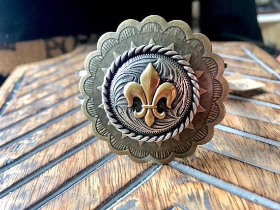 Antique Bronze Concho, Western Fleur De Lis, Cuff